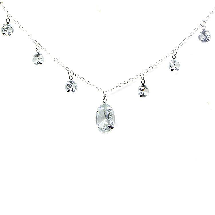 Colar Medieval Gotas Glow Crystal Silver