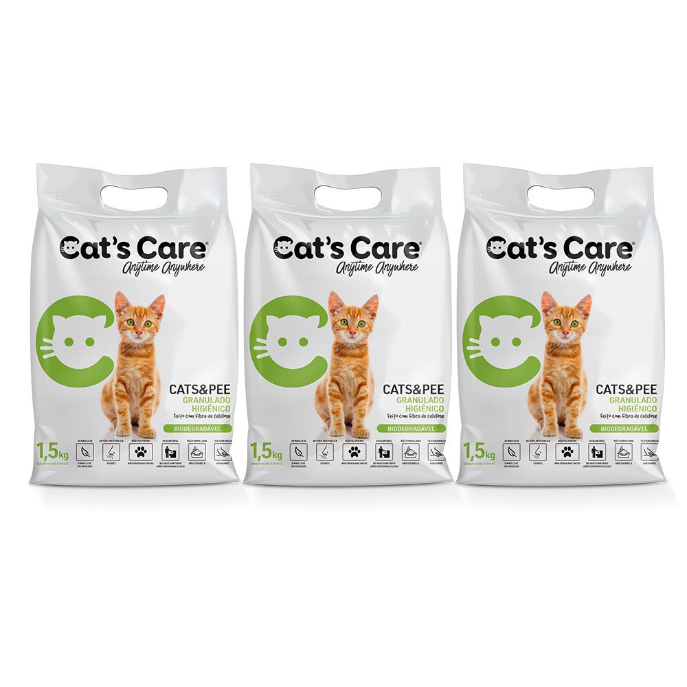 Kit 03 Granulado Higiênico para Gatos Cat's Care