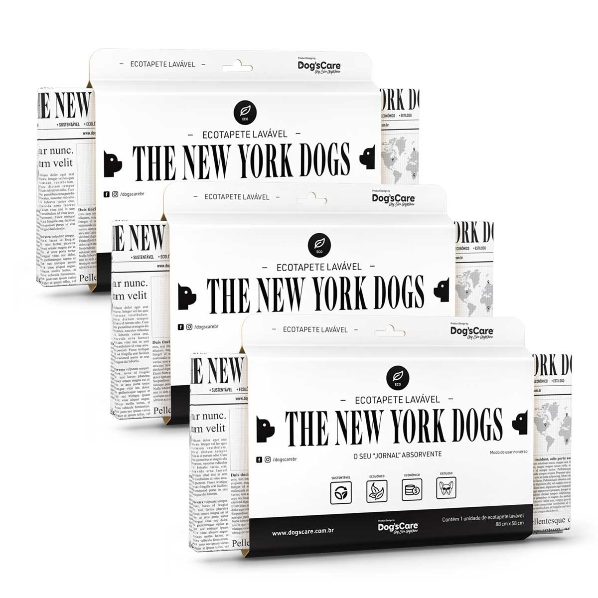 Kit 03 The New York Dogs Eco Tapete Higiênico Lavável Dog's Care