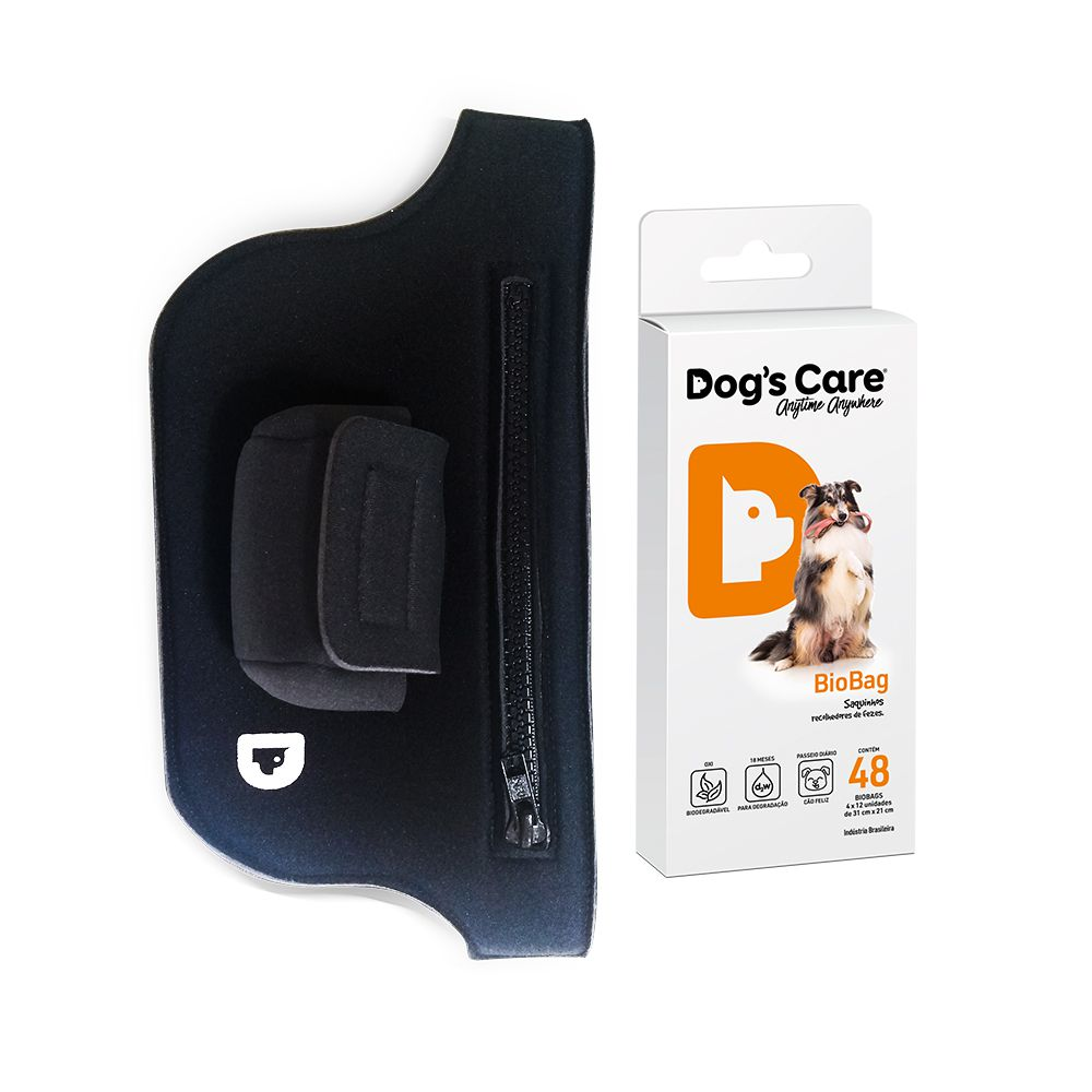 Kit Passeio Running Bag e BioBag Cata Caca Dog's Care