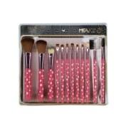 Kit com 12 pincéis cabo rosa com bolinhas MKP-545 Meilys