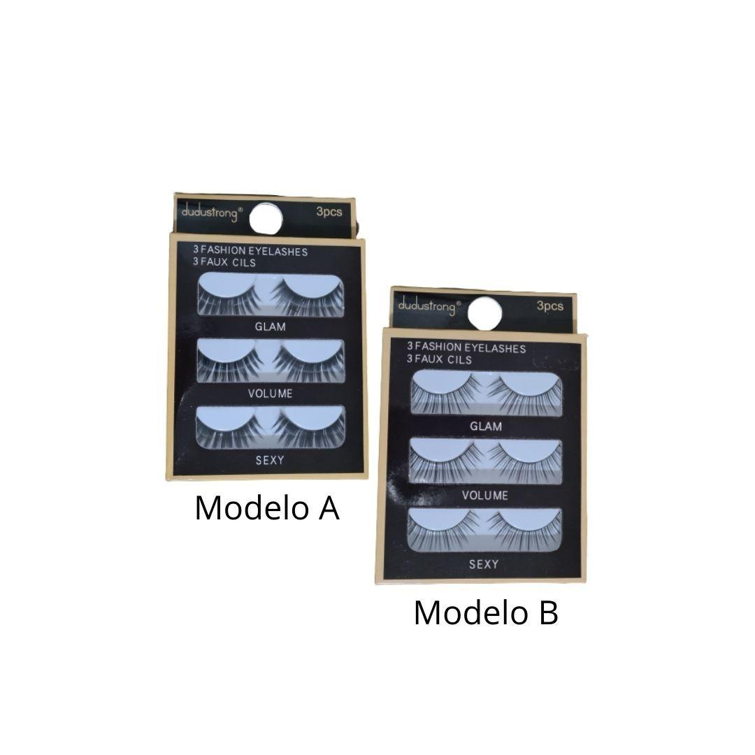 Caixa com 3 pares de cílios postiços Dudustrong
