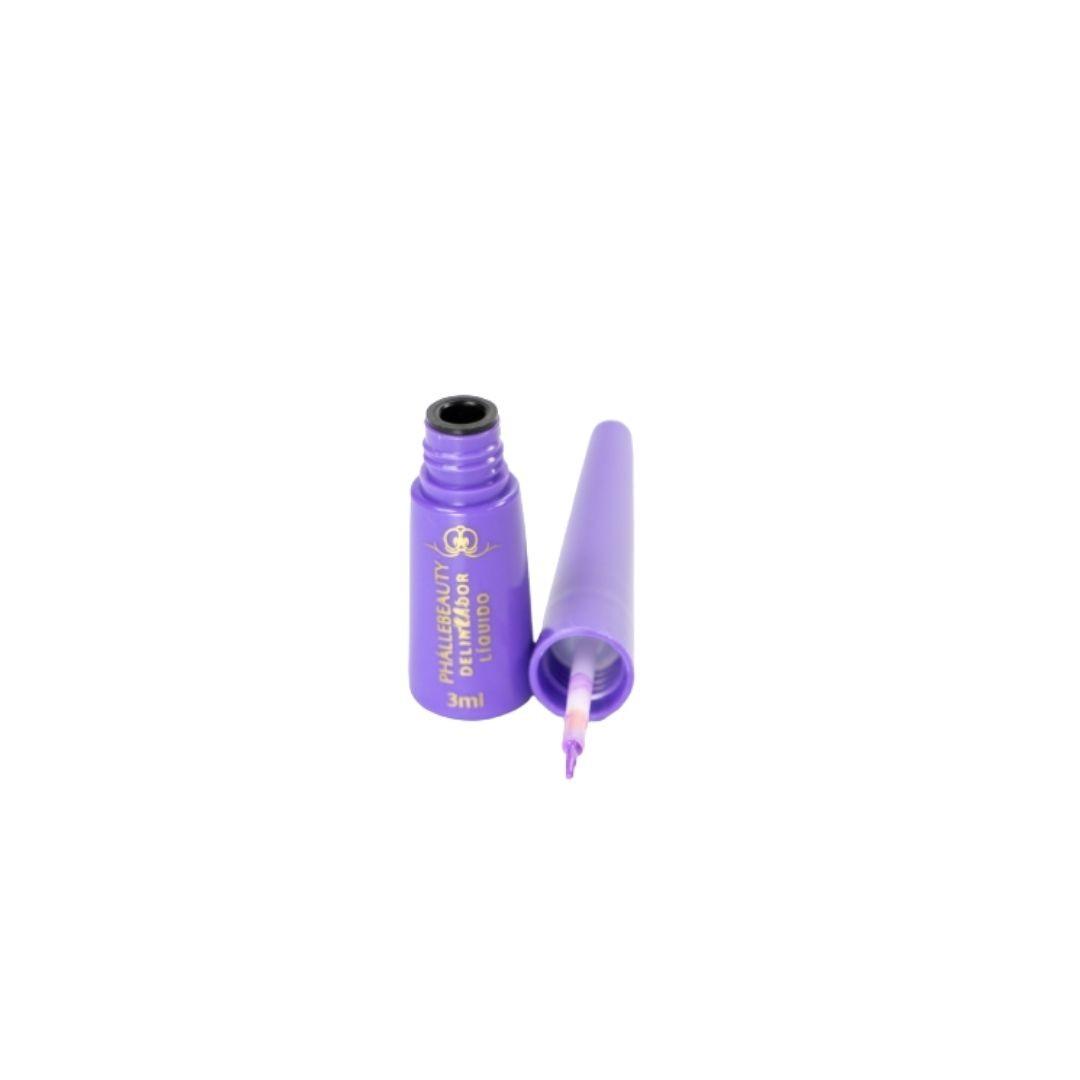 Delineador líquido roxo cor 4 Phallebeauty Cosmetics