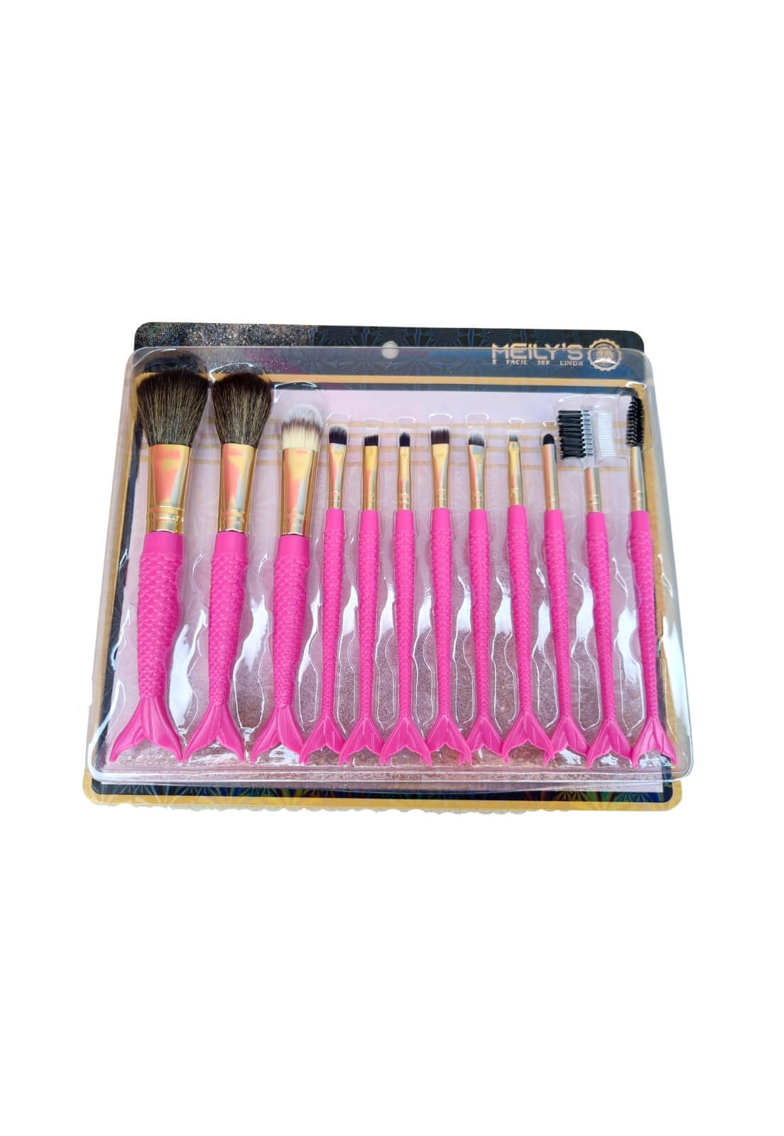 Kit com 12 pincéis cabo de sereia pink MKP-515 Meilys