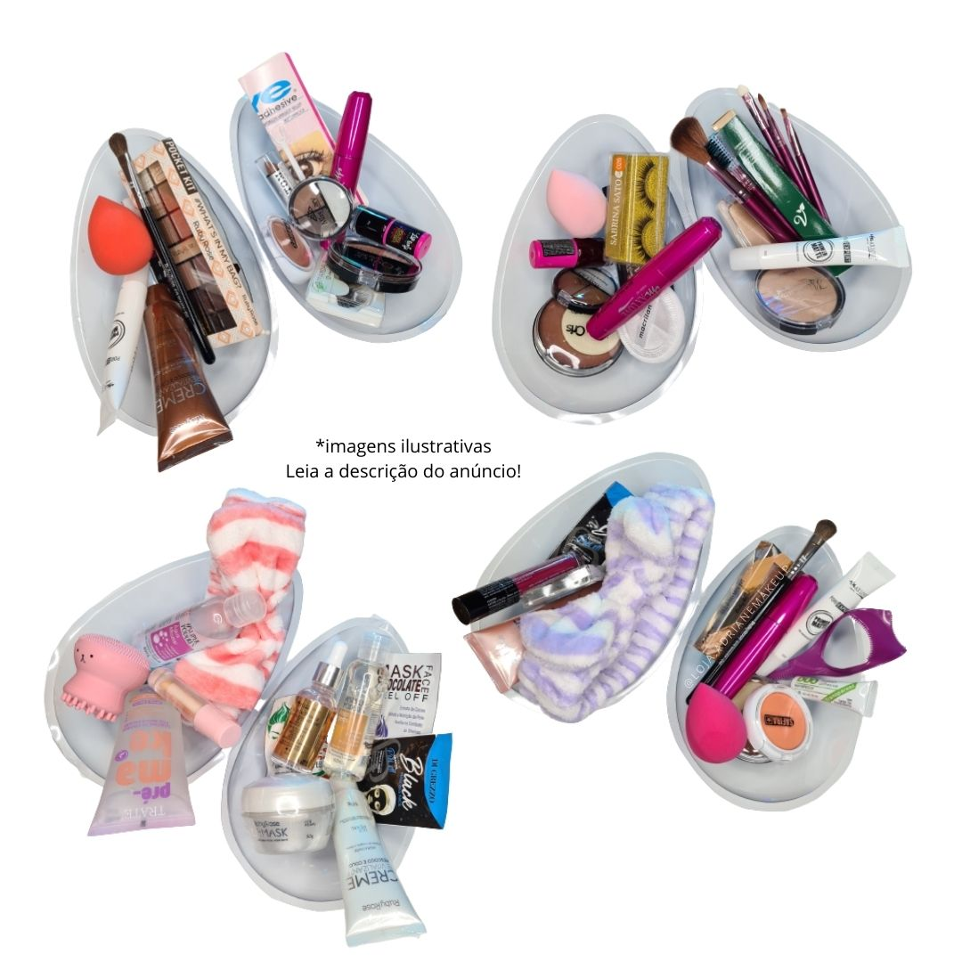Ovo de maquiagem com 12 produtos de skincare