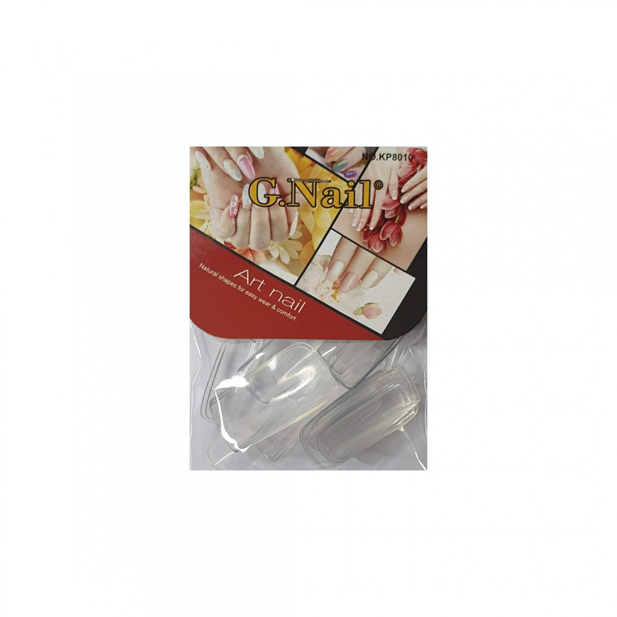 Pacote com 24 unhas postiças transparentes G. Nail