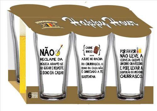 Jogo de Copos Boteco Manual Do Churrasco 200 ml 6 Peças