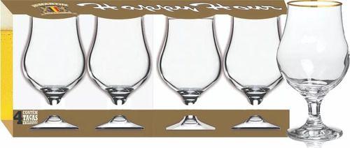 Conjunto de Taças Dublin Copo Filete Ouro 4 Peças