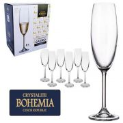 Conjunto com 6 Taças  Champanhe Cristal Bohemia com Titanium 220 ml