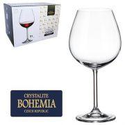 Conjunto com 6 Taças Vinho Borgonha Cristal Bohemia com Titanium 650 ml