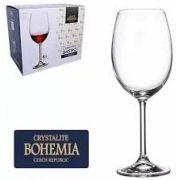 Conjunto com 6 Taças Vinho Tinto Cristal Bohemia com Titanium 450 ml