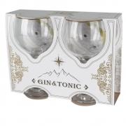 Conjunto 2 Taças Gin Tônic em Vidro Filete Ouro 600ml