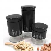 Conjunto 3 Potes Will Inox E Vidro Aço Escovado Preto