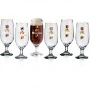 Conjunto 6 Taças Premium Floripa Gold Beer com Filete 300ml
