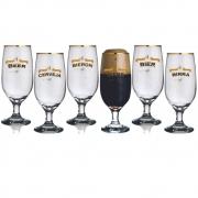 Conjunto 6 Taças Premium Floripa Idiomas com Filete Ouro 330ml