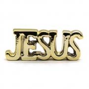 Enfeite Decorativo Cerâmico Palavra Jesus Dourado
