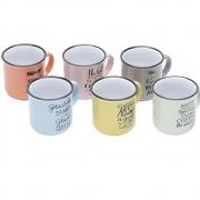 Jogo 6 Canecas De Porcelana Colorida Motive 130ml