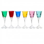 Jogo 6 taças 50ml para licor de cristal coloridos Kleopatra/Branta Bohemia
