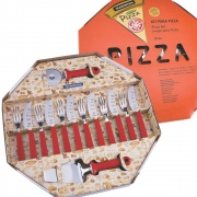 Kit Para Pizza 14 Pcs Pizza - Laminas De Aco Inox E Cabos De Polipropileno Vermelho