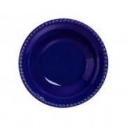 Prato Fundo Bolinha Azul Porcelana 22 cm