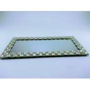 Suporte de vidro com Espelho e Pedras Retangular