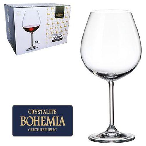 Conjunto 6 Taças Vinho Borgonha Cristal Bohemia com Titanium 650 ml