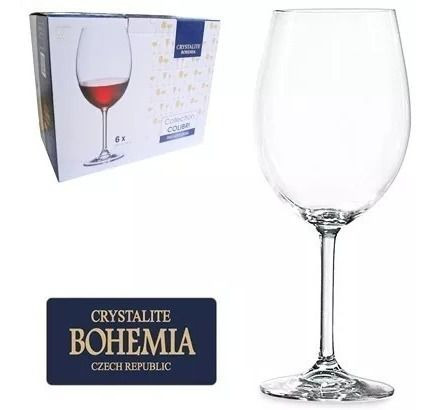 Conjunto com 6 Taças Vinho Bordeaux  Cristal Bohemia com Titanium  580 ml