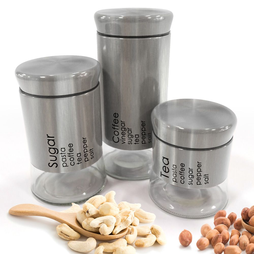 Conjunto 3 Potes Will Inox e Vidro Aço Escovado
