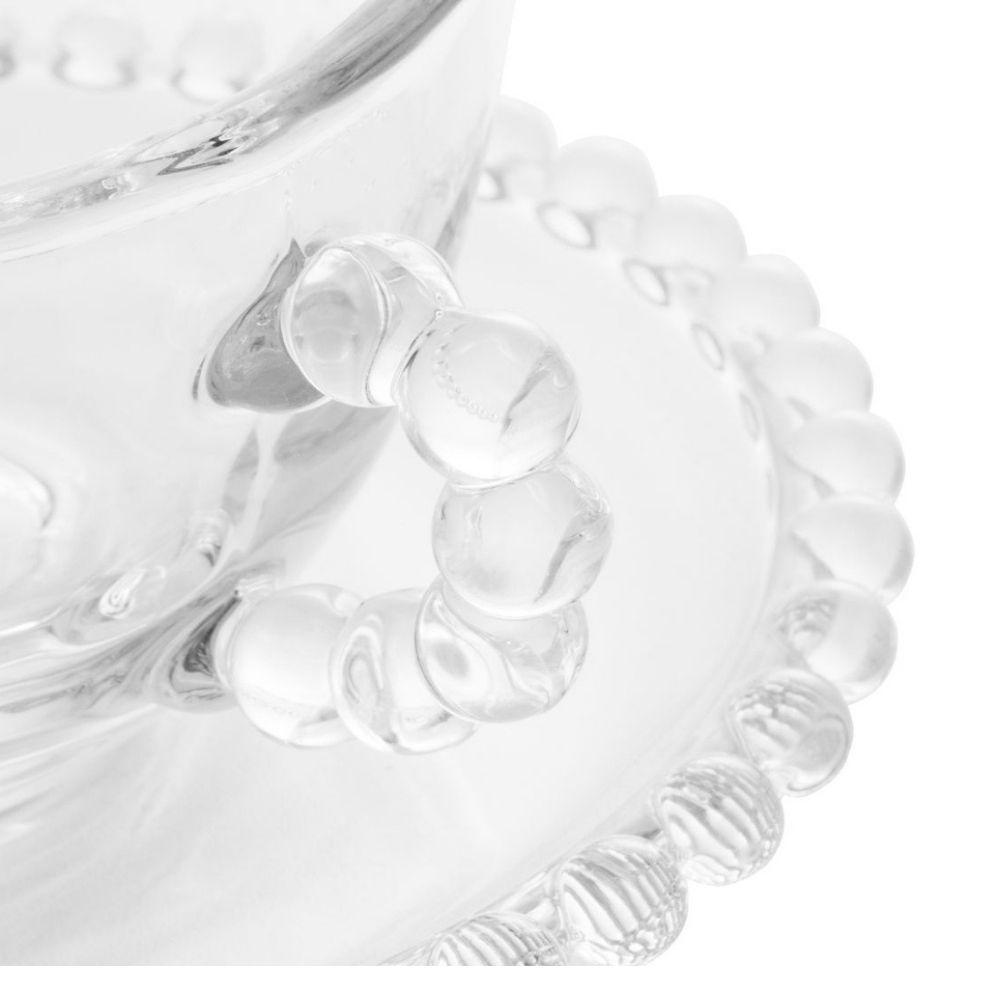 Conjunto 4 xicaras cha cristal de chumbo c/pires linha pearl 180ml