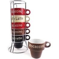 Conjunto 6 xícaras para Café com Suporte