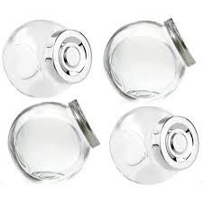 Conjunto Potes de Vidro para Temperos 4 Peças com Tampa Cinza
