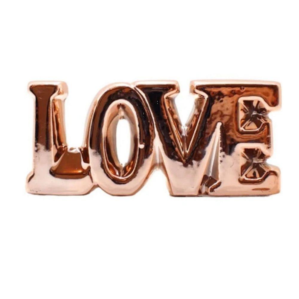 Enfeite Cerâmica Love Rosé Gold