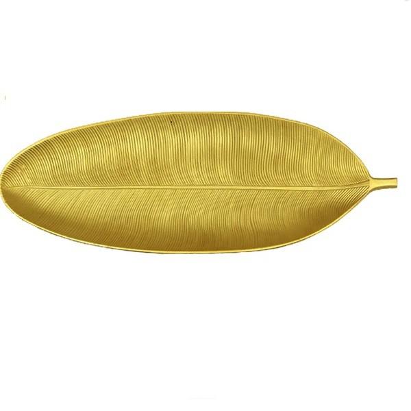 Enfeite decorativo folha dourada 40x14cm