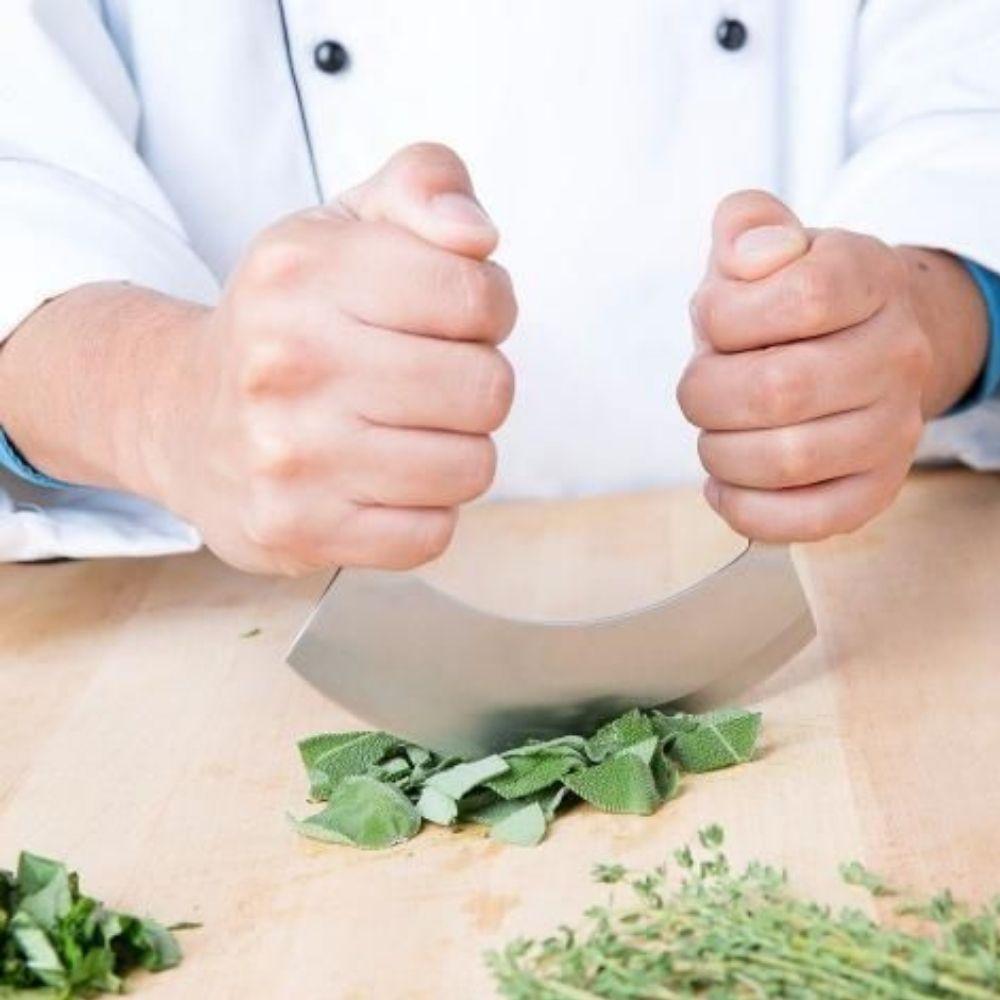 Faca de Temperos e Salada Mezzaluna (Meia Lua) Aço Inox