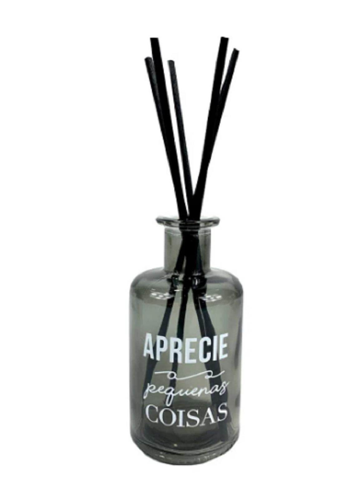 Frasco Cinza de Vidro 250 ml com Vareta- Difusor de Ambiente