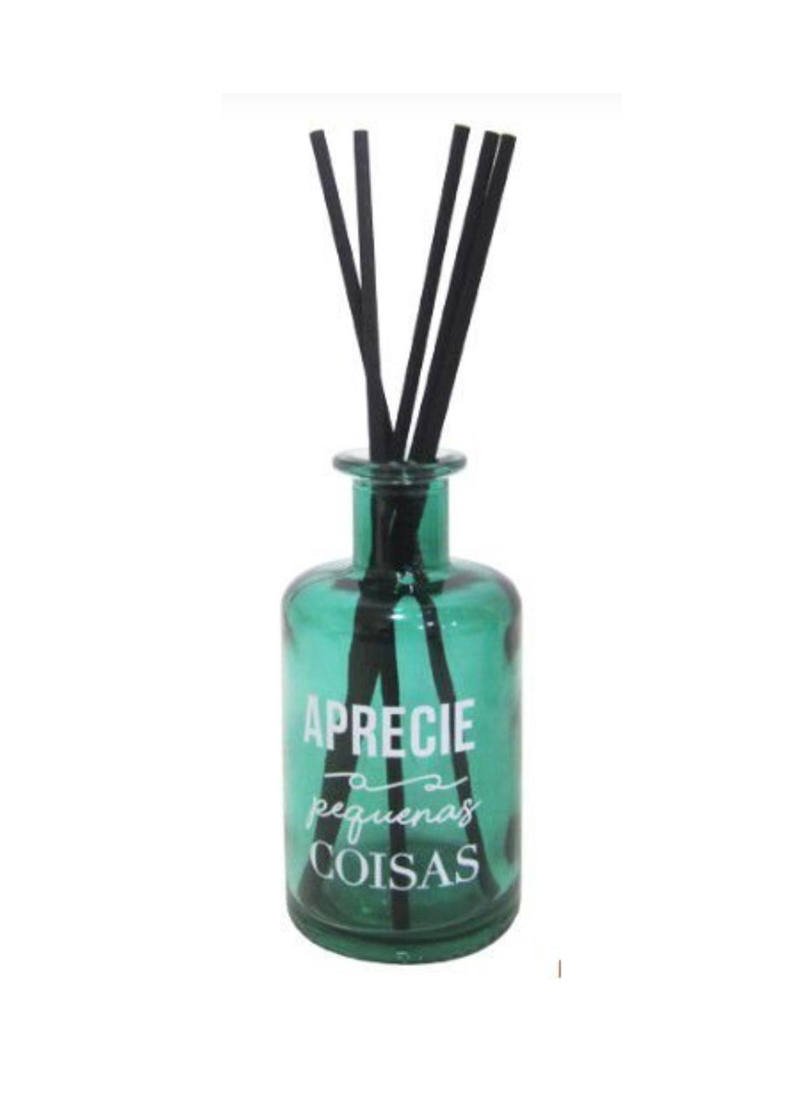 Frasco Verde de Vidro 250 ml com Vareta- Difusor de Ambiente