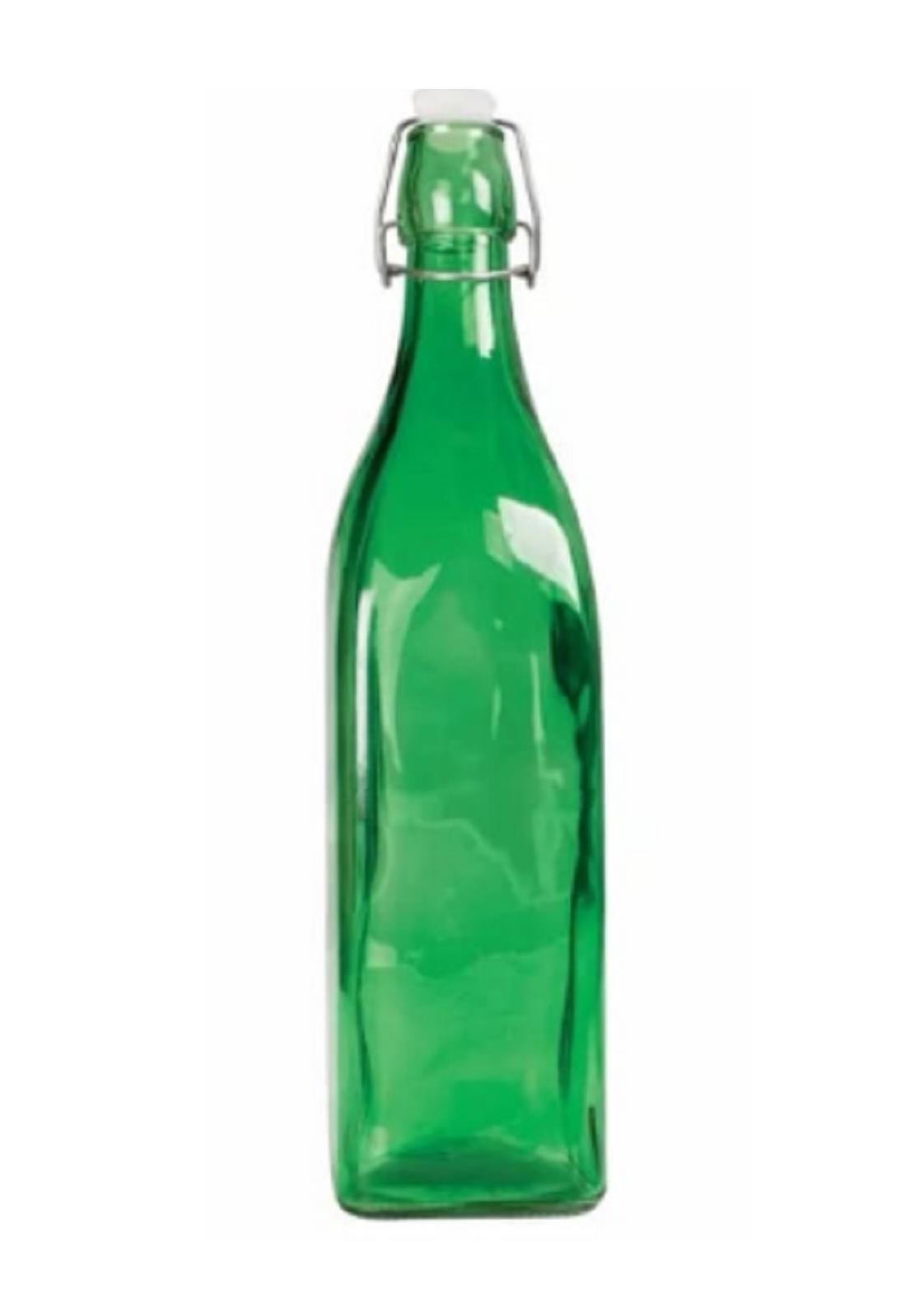 Garrafa 1 Litro Vidro C/ Fechamento Hermético Quadrada Verde