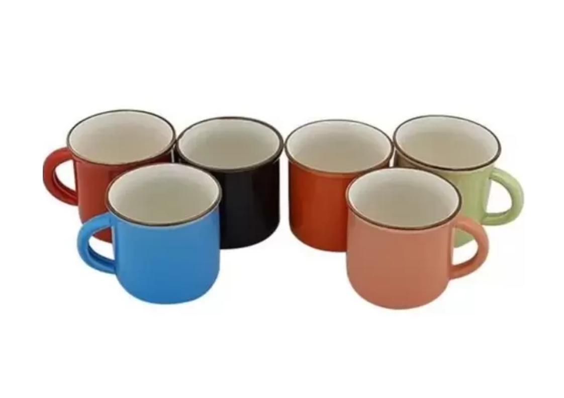 Jogo 6 Mini Canecas para Café Porcelana Colorida