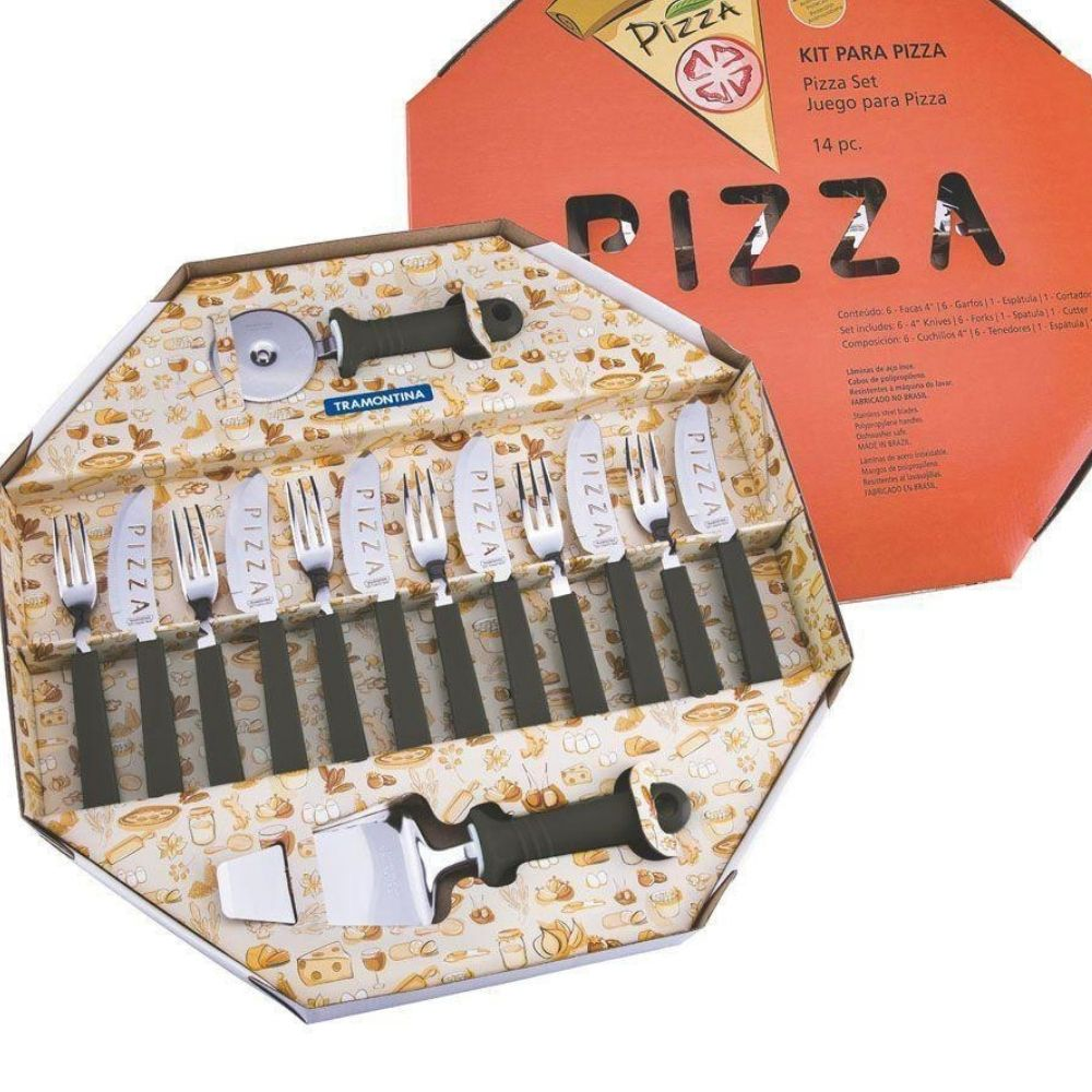 Kit Para Pizza 14 Pecas - Laminas De Aco Inox Preto