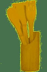 Kit Utensílios De Bambu 5 Peças Redondo