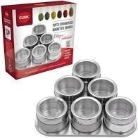 Porta Condimentos Inox Magnético Jogo Com 6 Potes