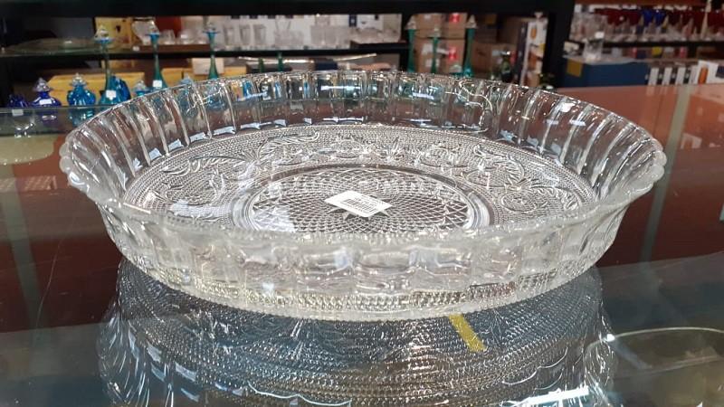 Prato em  Vidro kig Bolo com Borda 30 cm