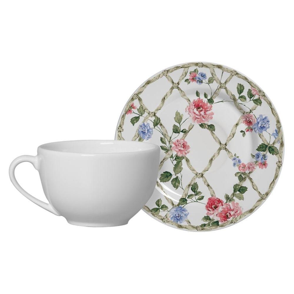 Xícara de Chá com Pires Romântica