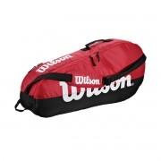 Raqueteira Wilson Team para 3 Raquetes - Vermelha e Preta