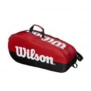 Raqueteira Wilson Team para 6 Raquetes - Vermelha e Preta