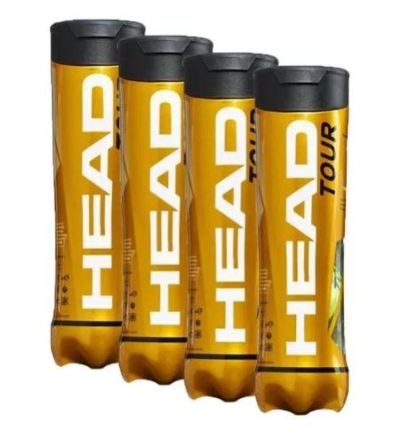 Bola de Tênis Head Tour 4 bolas - Pack com 4 tubos