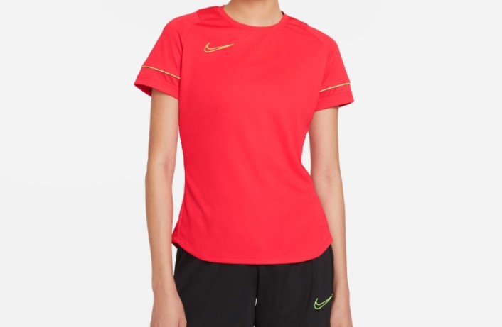 Camiseta Nike Dry-Fit Feminina Academy Top Vermelha e Limão