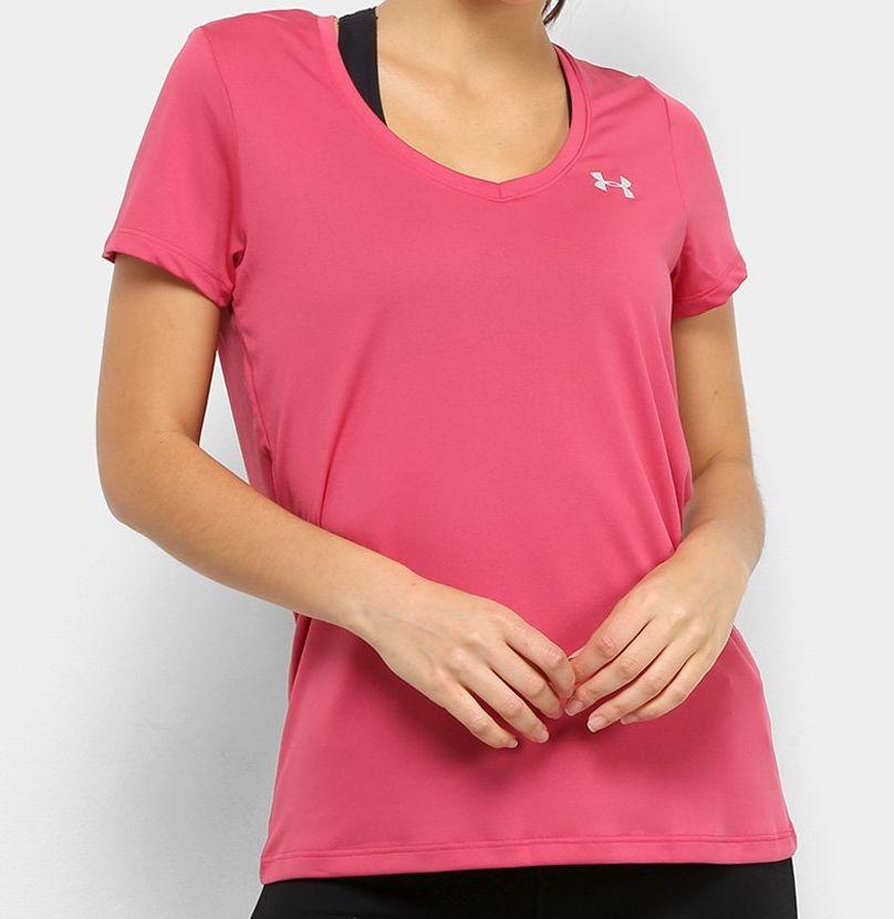 Camiseta Under Armour Feminina Tech  Gola V Rosa
