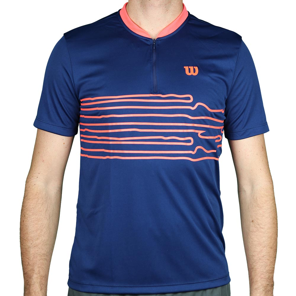 Camiseta Wilson 1/2 Zip Performance Masculina - Marinho e Neon