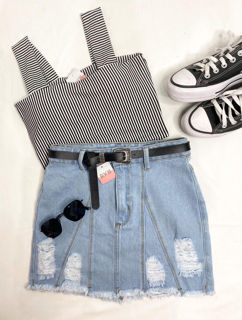 Saia Jeans Recortes